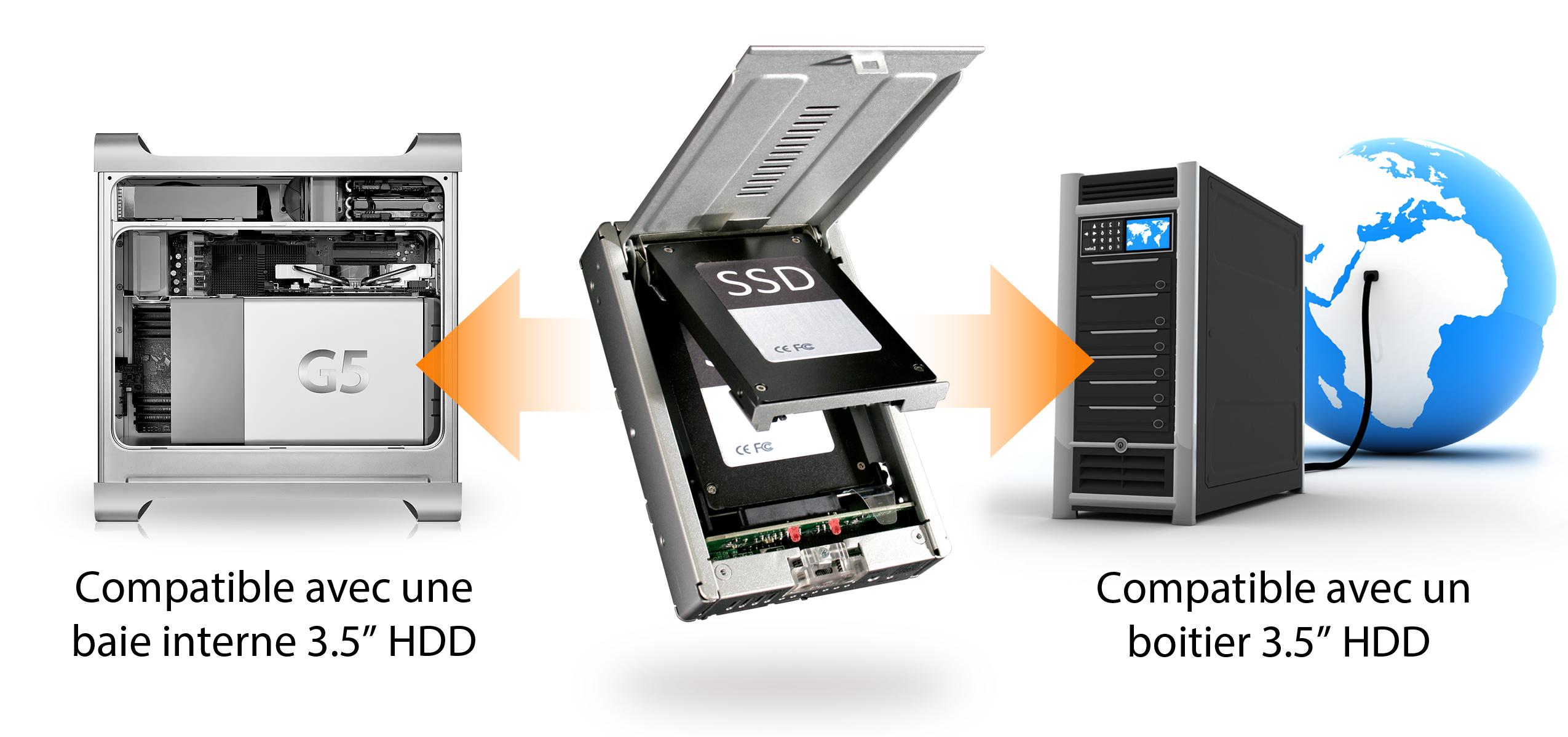 Photo d'une baie interne 3.5 pouces pour HDD et d'un boitier 3.5 pouces pour HDD