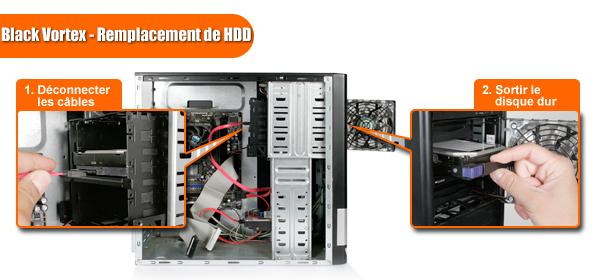 Étapes d'installation d'un HDD dans un MB074SP-B