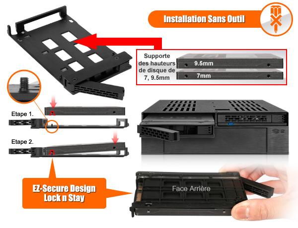 photo des différentes hauteurs de disque supportées par le mb322sp-b et de son système de sécurité