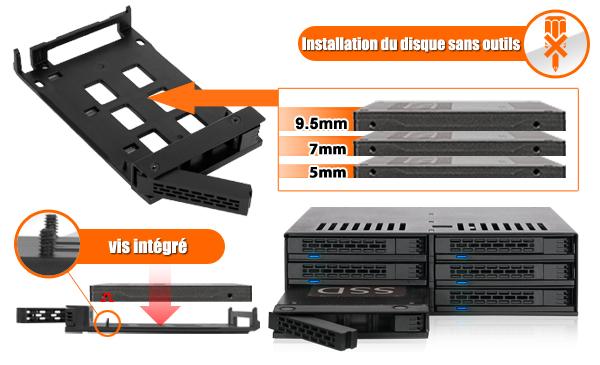 Photo des vis intégrées dans le MB326SP-B et des différentes tailles de disques compatibles avec l'appareil (5mm, 7mm, 9.5mm)