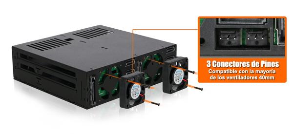 Foto del conector de 3 pines del MB326SP-B que se adapta a la mayoría de los ventiladores de 40 mm.