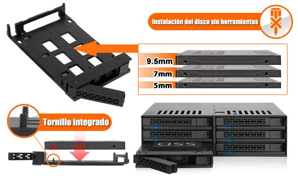 Foto de los tornillos integrados en el MB326SP-B y los diferentes tamaños de discos compatibles con el dispositivo (5mm, 7mm, 9,5mm)