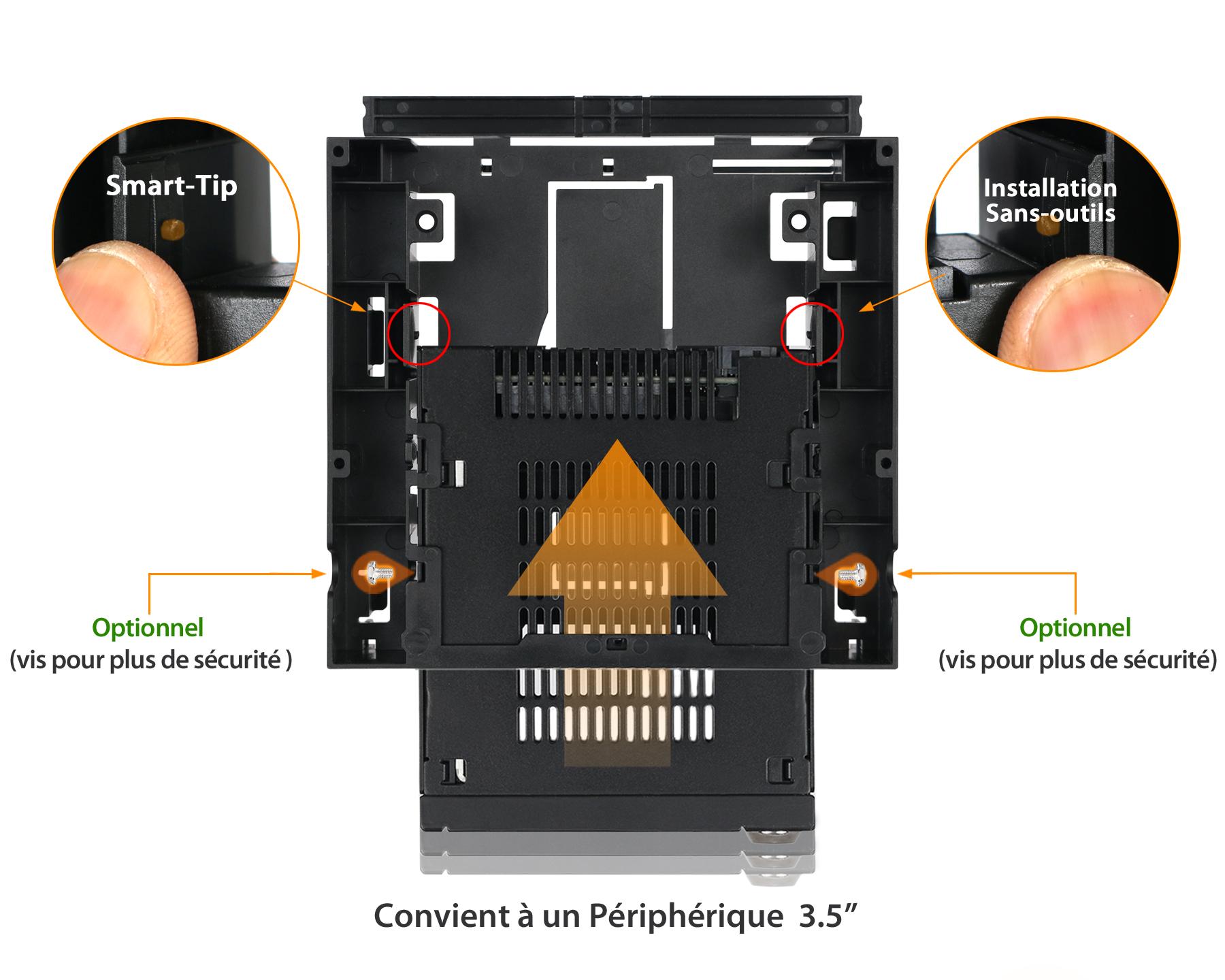 Étapes d'installation sans outil du MB343SPO dans un appareil 3.5 pouces