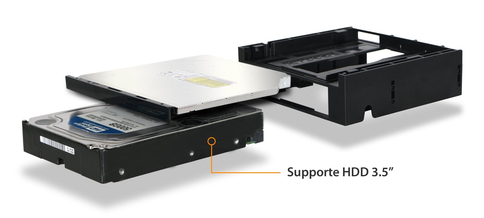 MB343SPO à côté d'un HDD 3.5 pouces