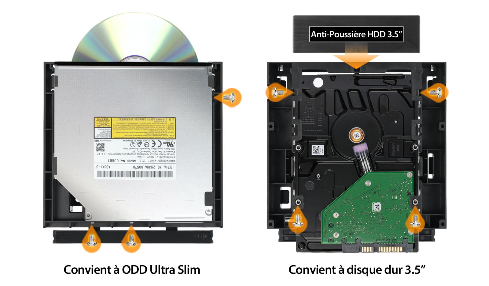 Photo du MB343SPO dans un ODD Ultra Slim à gauche et pour un disque dur 3.5 pouces à droite