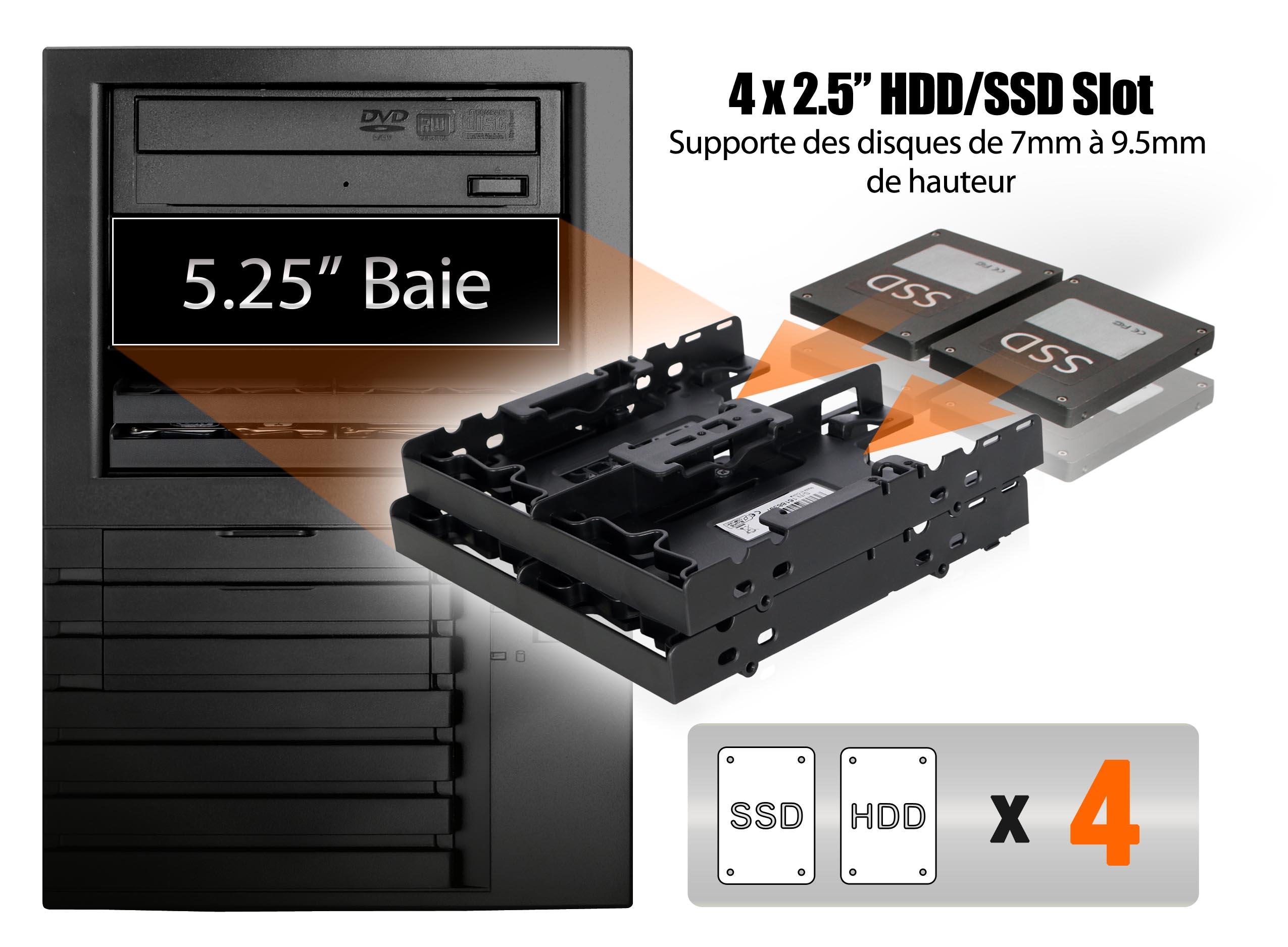 Photo d'un MB344SP avec deux SSD à l'intérieur, appareil prêt à être inséré dans une baie 5.25 pouces