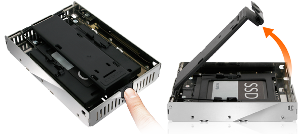 photo des étapdes d'installation d'un SSD dans un mb382ip-3b