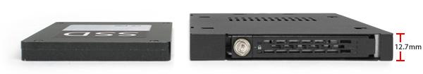 comparaison de deux appareils : un disque dur 2.5 pouces à gauche et un MB411sko-b à droite
