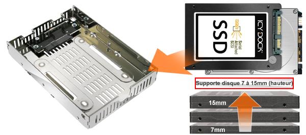 photo des différentes tailles de disque compatibles avec le mb482ip-3b (7mm à 15mm de hauteur)