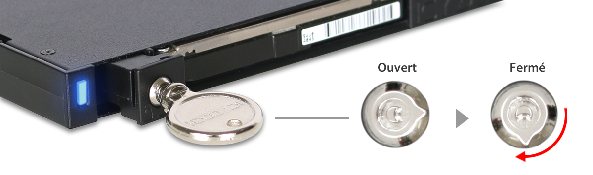 Zoom sur le système de verrouillage à clé du MB511SPO-b
