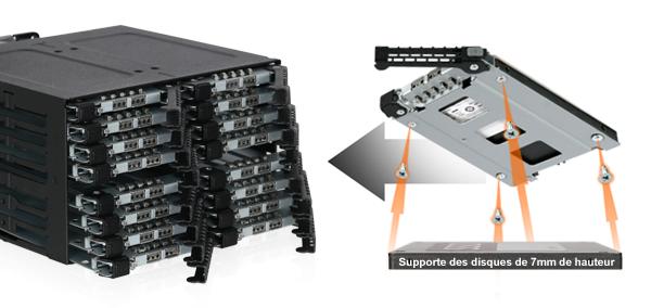 Photo du mb516sp-b à gauche et d'un plateau EZ Slide Nano tray à droite
