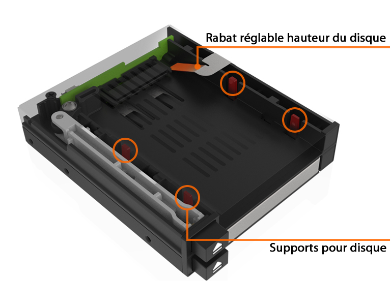 Photo du rabat réglable en fonction de la hauteur du disque inséré dans le MB522SP-B