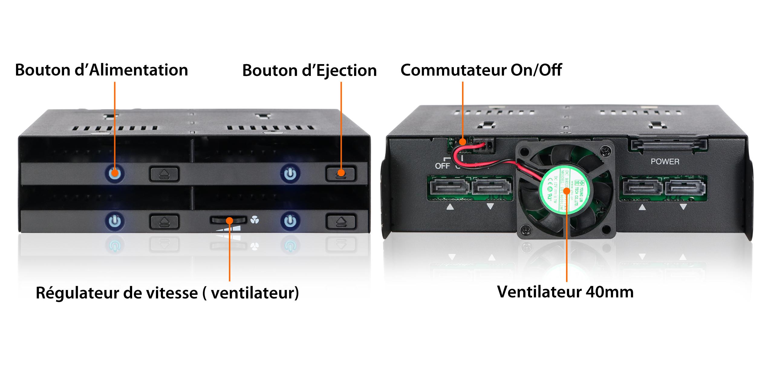 photo des différentes fonctionnalités du mb524sp-b : bouton d'alimentation, bouton d'éjection, commutateur on/off du ventilateur, ventilateur 40mm, régulateur de vitesse du ventilateur