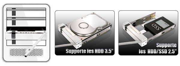 Photo d'un HDD 3.5 pouces et d'un SSD 2.5 pouces