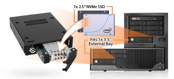 Photo de présentation du MB601VK-B, d'une baie externe 3.5 pouces et d'un SSD NVMe 2.5 pouces