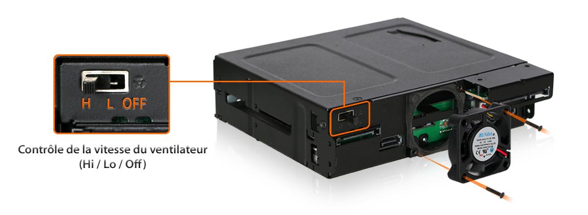 Zoom sur le ventilateur 3 modes intégré dans le MB602SPO-B