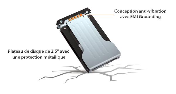 Zoom sur la conception anti-vibration avec mise à la terre EMI et sur la protection métallique sur MB602SPO-B