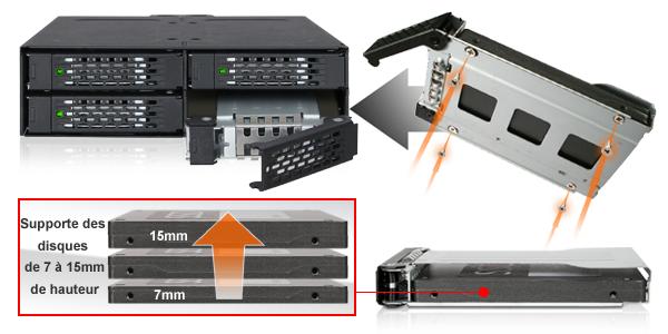 Photo des différentes tailles de disque compatibles avec le MB607SP-B
