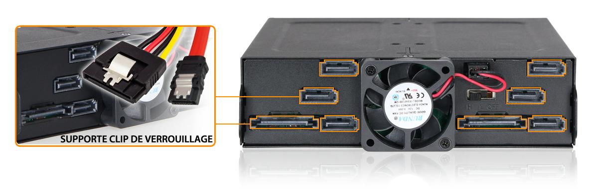 Photo des ports du MB608SP-B prévus pour supporter des connecteurs avec clip de verrouillage