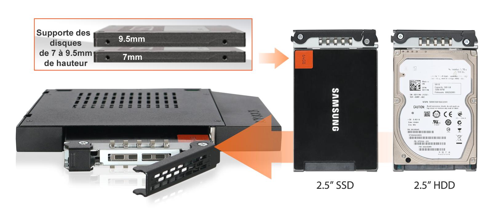 Photo des différents disques compatibles avec le MB411SPO-1B (SSD 2.5 pouces et HDD 2.5 pouces de 7mm à 9.5mm de hauteur)