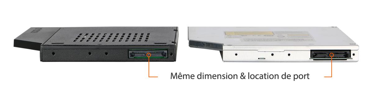 Photo à gauche du MB411spo-1B, à droite d'une ODD Slim, les deux font la même taille et ont les même ports