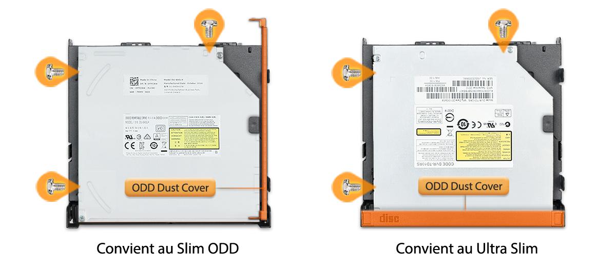 Photo d'une ODD Slim à gauche et d'uneODD Ultra-Slim à droite