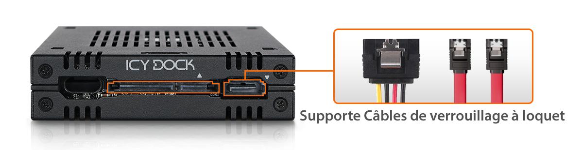 photo des ports d'alimentation du mb742sp-b qui supportent les câbles à clip de verrouillage