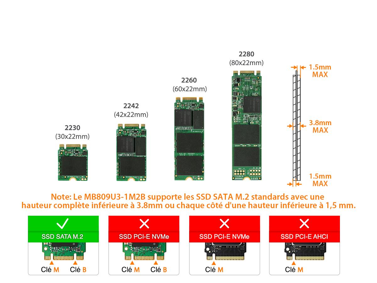 Tailles de disque compatibles avec le mb809u3-1m2b