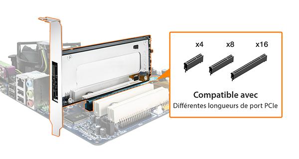 Photo des différents ports PCIe compatibles avec le MB840M2P-B (4x, 8x et 16x)