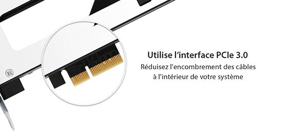 Photo de l'inferface PCIe 3.0 insérée dans le mb840m2p-b