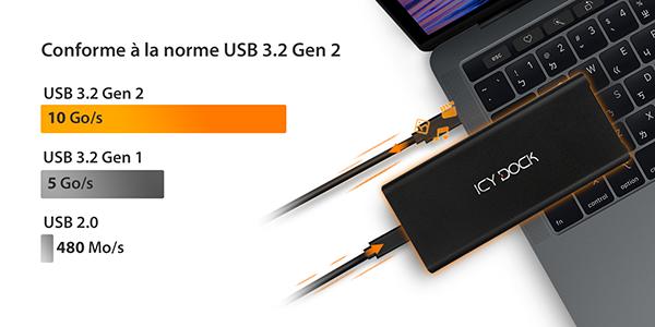 comparaison des différentes vitesses enfonction de la génération USB utilisée