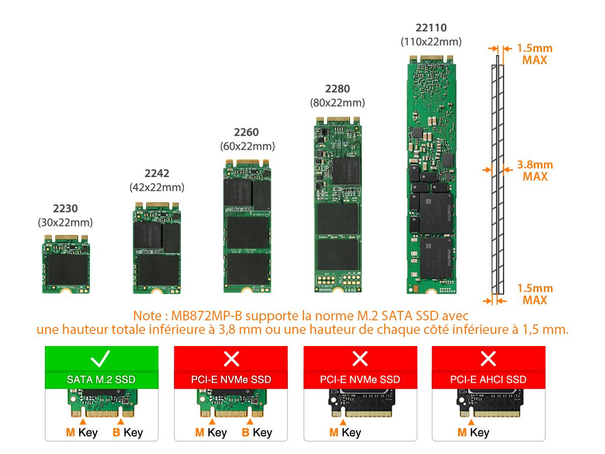 Photo des différentes taille de SSD compatible avec le MB872MP-B