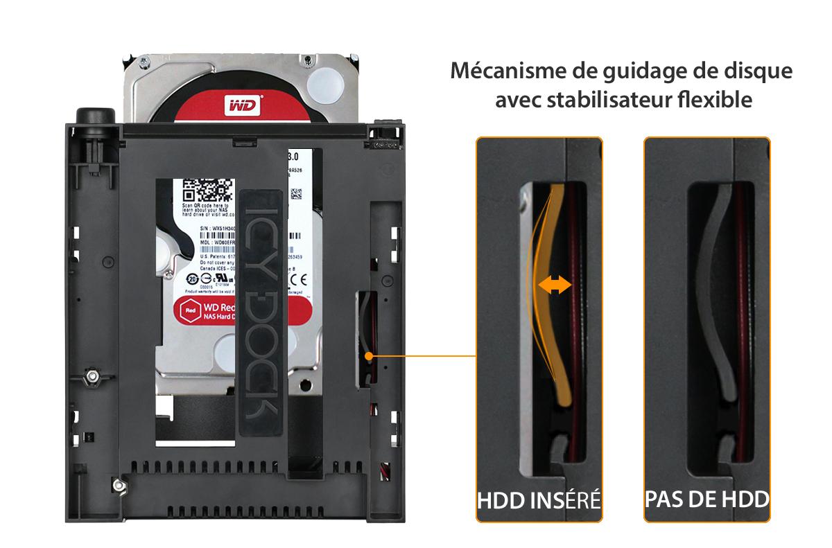 Photo du mécanisme de guidage de disque intégré dans le MB971SPO-B avec son stabilisateur flexible
