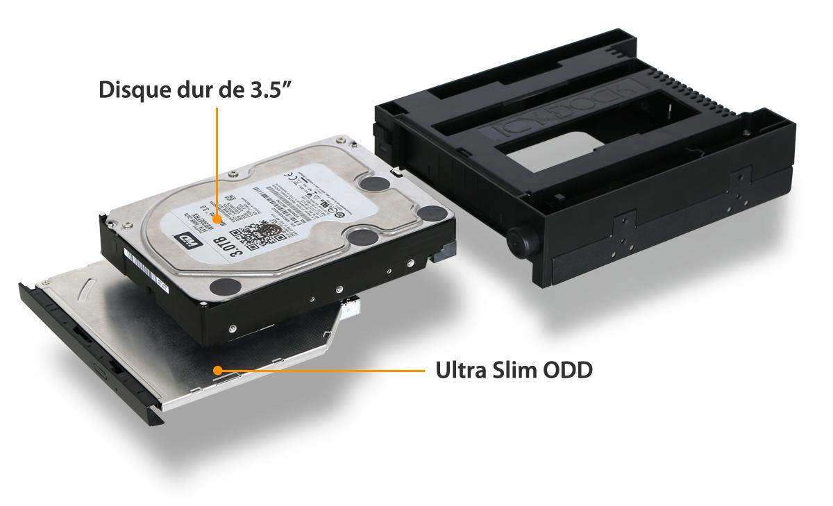 photo d'un disque dur 3.5 pouces et d'une ODD slim en cours d'insertion dans un MB971SPO-B
