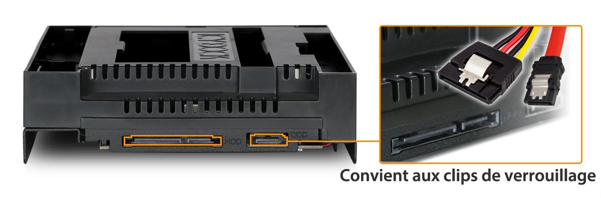 Photo des ports du MB971SPO-B prévus pour les câbles aux clips de verrouillage