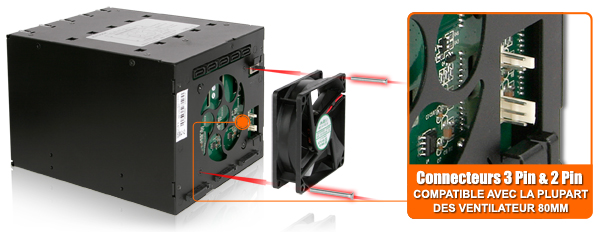 Photo des connecteurs 2 & 3 pin du MB975SP-B R1 (compatible avec la plupart des ventilateurs 80mm)