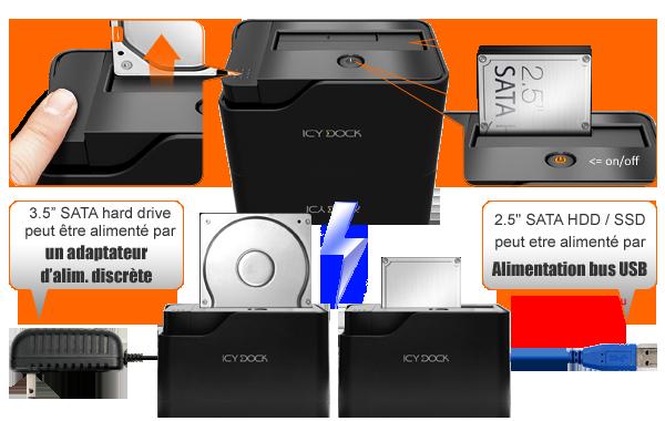 photo des fonctionnalités du mb981u3-1s (ejection hdd, cache anti-poussière, adaptateur d'alimentation, adaptateur d'alimentation bus USB...)