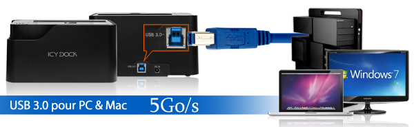 photo du mb981u3-1s et zoom sur son port USB 3.0