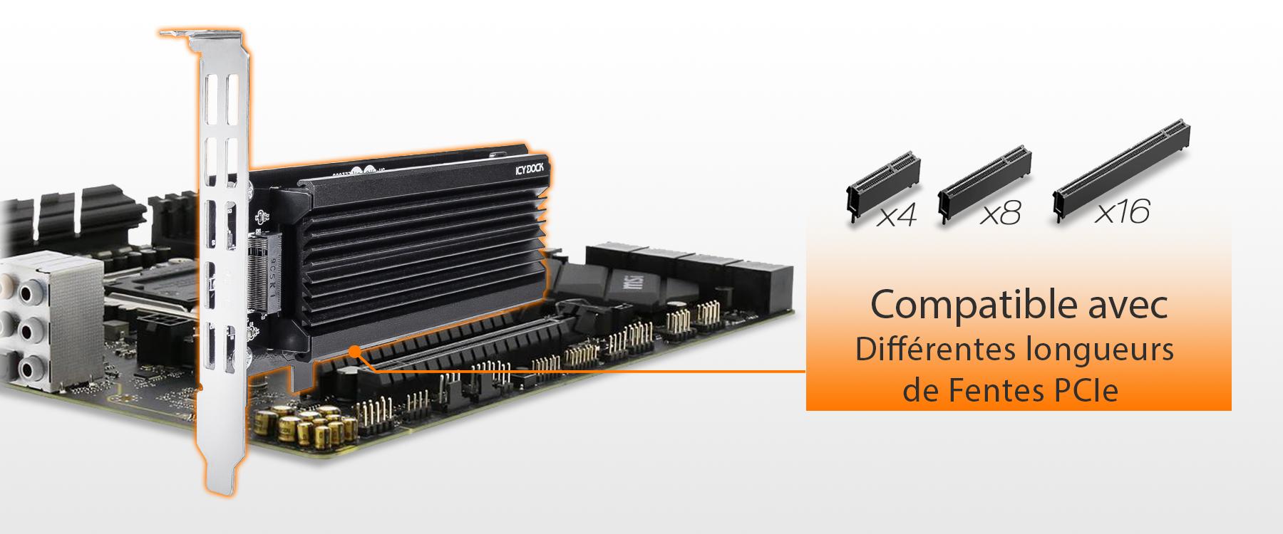 photo des différentes longueurs de fentes PCIe compatibles avec le MB987M2P-1B (x4, x8, x16)