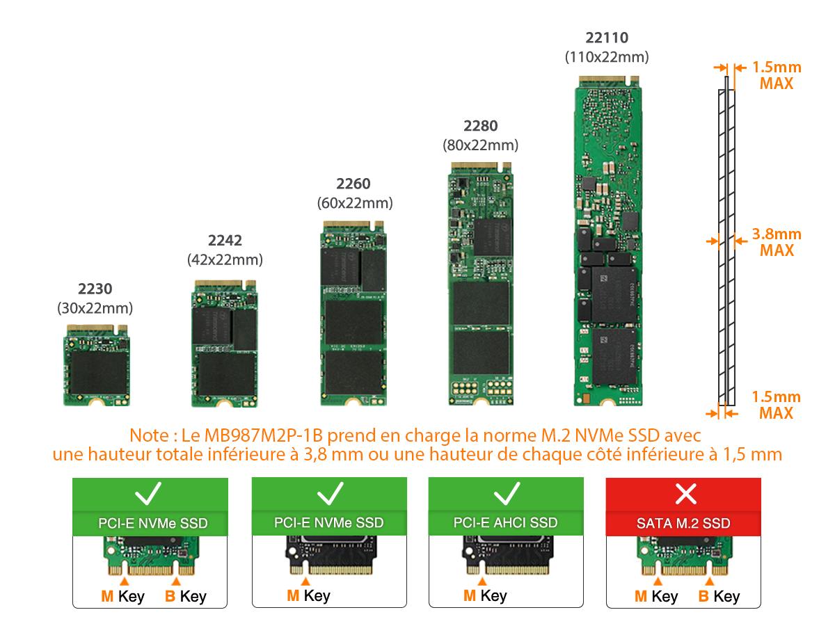 Photo des dimensions M.2 NVMe SSD prisent en charge par le MB9987M2P-1B