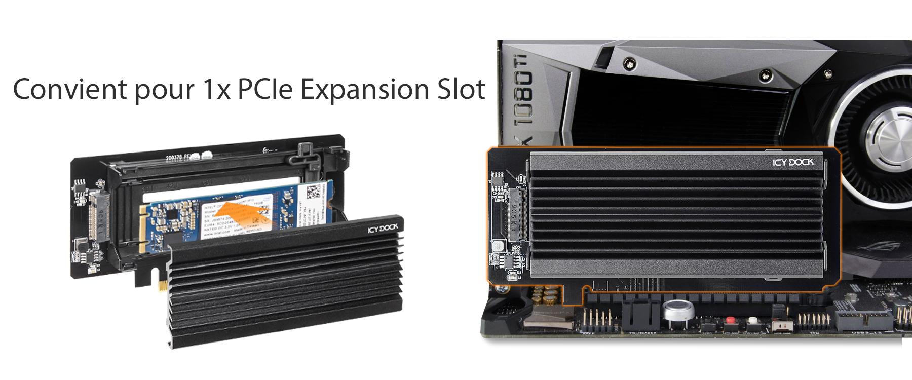 Photo montrant la compatibilité avec un emplacement d'extension PCIe