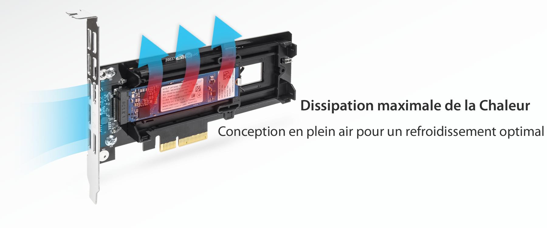 Flèches colorées illustrant l'air circulant à travers le dissipateur de chaleur du MB987MP-B