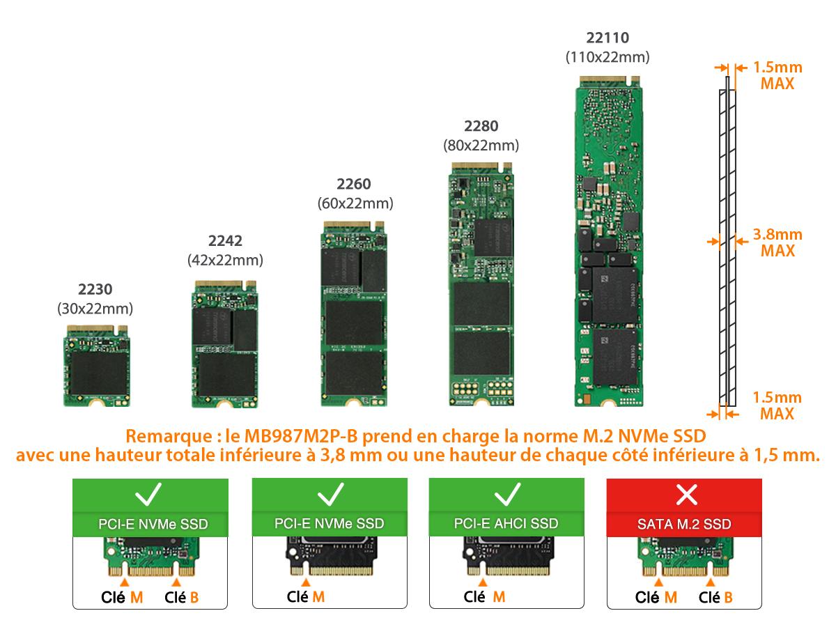 Photo des dimensions M.2 NVMe SSD prisent en charge par le MB9987M2P-B