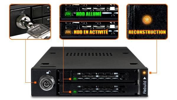 Photo du mb992skr-b et de ses LED changent en fonction du statut des disques insérés