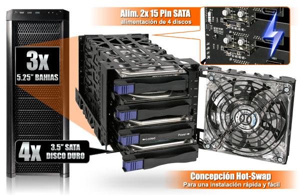 Foto del mb074sp-1sb con zoom en su fuente de alimentación SATA de 2x 15 pines y la funcionalidad de intercambio en caliente