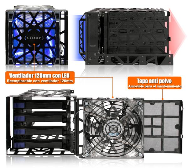 Foto del ventilador LED del mb074sp-b y su filtro de polvo extraíble