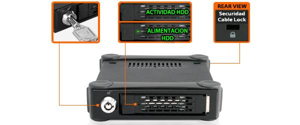 Foto de los diferentes estados del LED según la actividad del disco insertado en el mb991u3-1sb y su sistema de seguridad