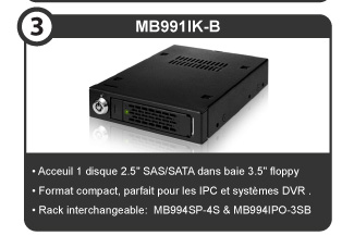 "MB991IK-B, Fits 1 x 2.5"" SAS/SATA drives into a 3.5"" floppy bay, Small form factor perfect for IPC and mobile DVR systems, Interchangeable tray with MB994SP-4S & MB994IPO-3SB."