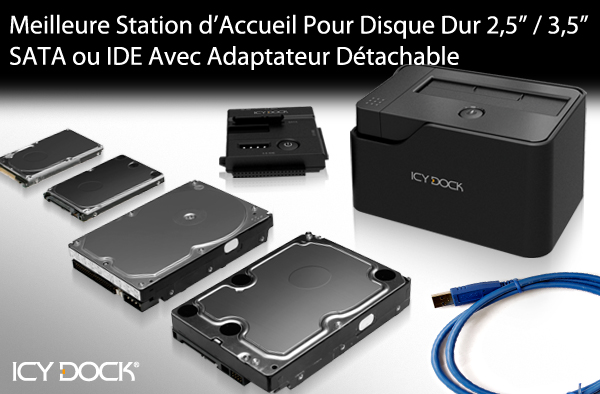 The Best 2.5/3.5 IDE/SATA USB 3.0 Hard Drive Docking Station with Portable Adapter - ICY DOCK MB981U3-1SA
